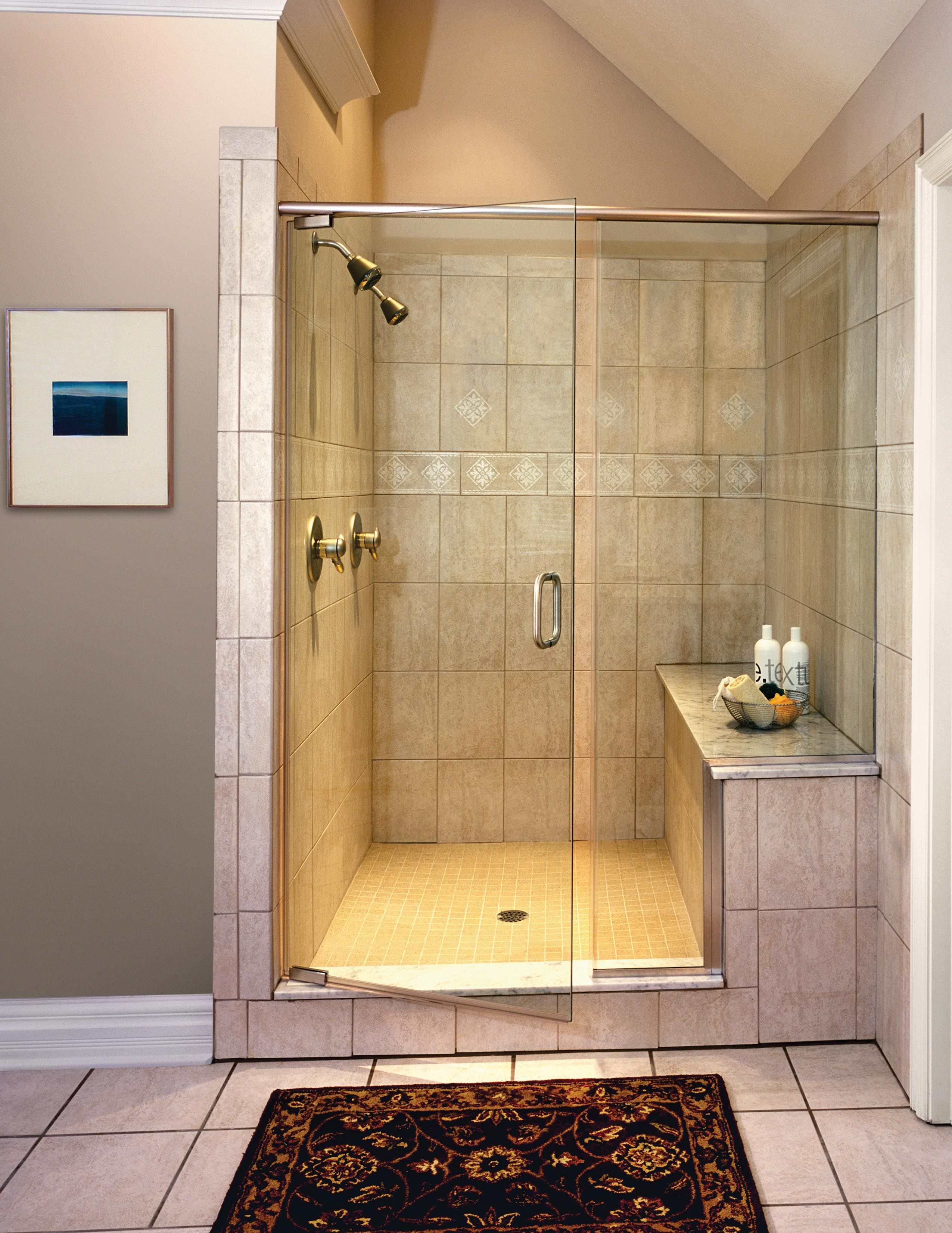 Walk In Shower Ideas For Bathrooms With Glass Shower Doors With