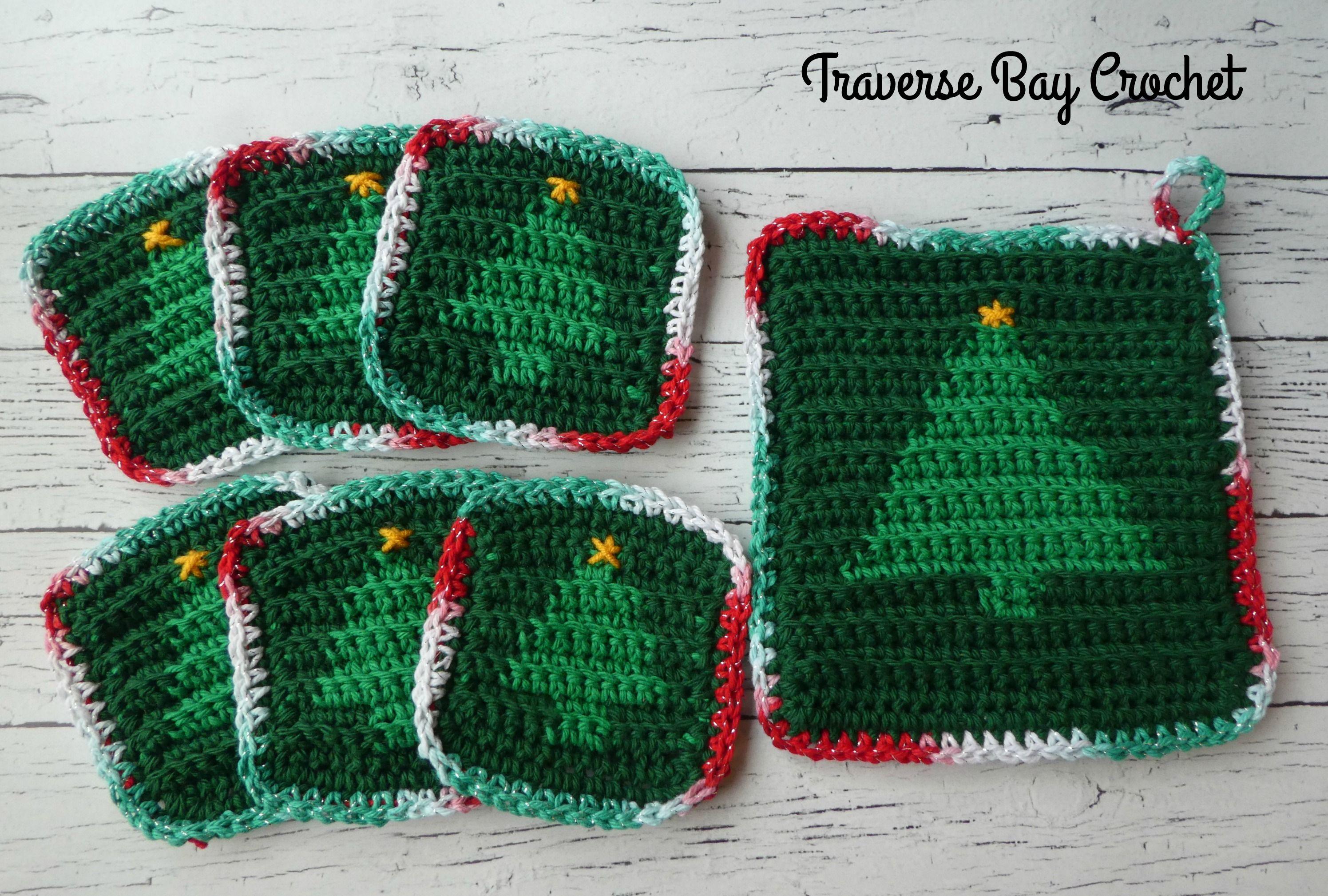 Crochet Christmas Tree Hotpad Coaster Set Traversebaycrochet Com Crochet Christmas Trees Christmas Coasters Christmas Crochet