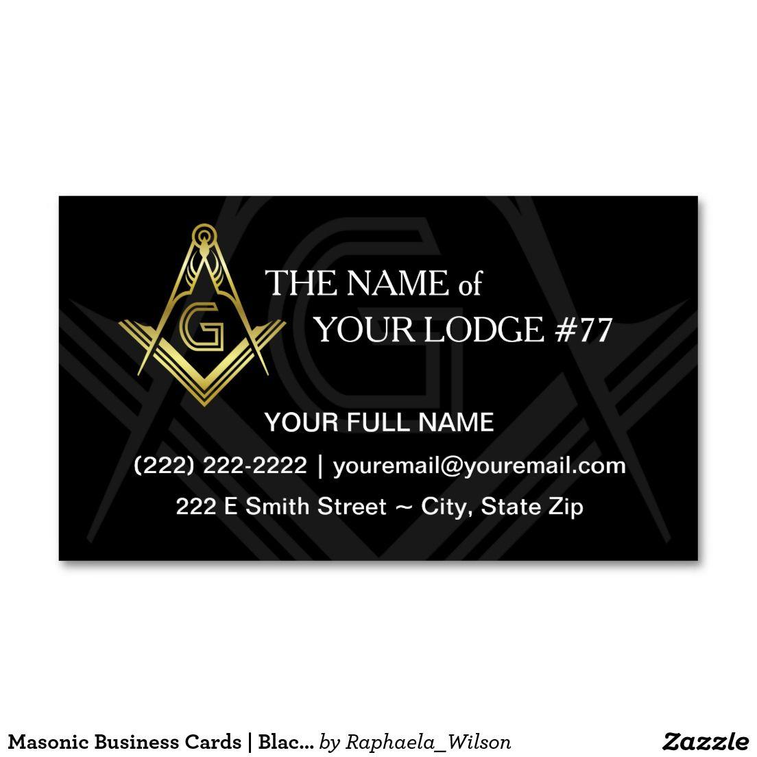 Masonic Business Cards | Black and Gold Freemason | Custom Masonic ...