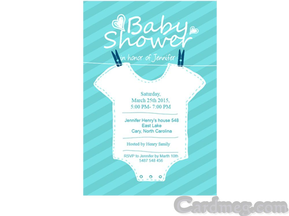 Baby Shower Invitations: Baby Shower Invitations Template Hanging White  Clothes Blue Background, Cool Baby