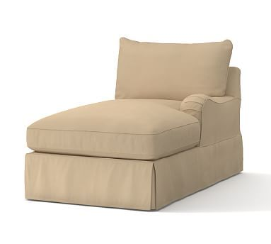 PB Comfort English Arm Slipcovered Right Arm Chaise, Knife Edge Polyester Wrapped Cushions, Brushed Canvas Walnut