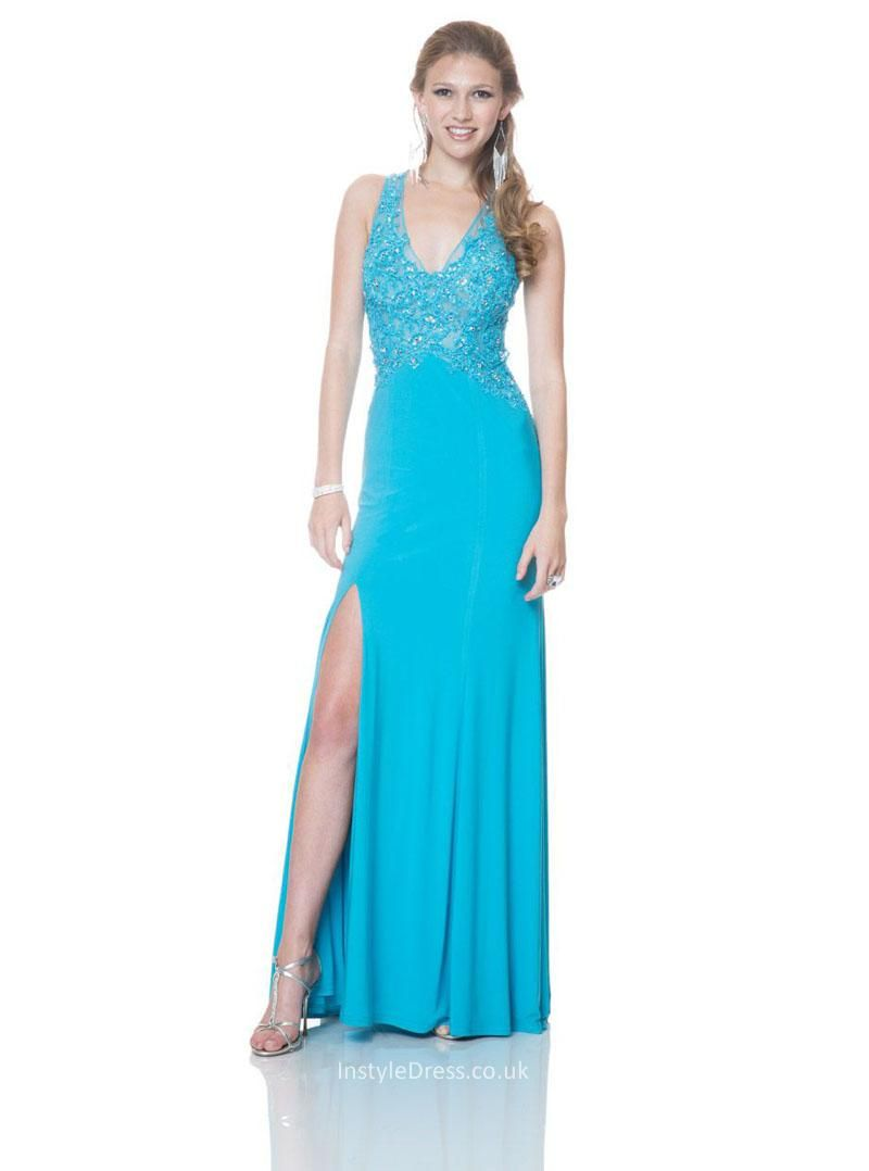 sexy v-neck lace beaded long front slit turquoise blue prom dress ...
