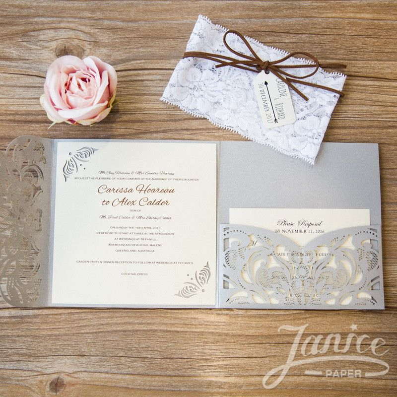 Classic Floral Tri Fold Laser Cut Wholesale Wedding Invitation