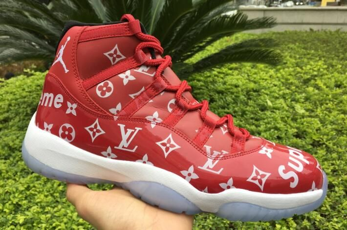 Custom Supreme x Air Jordan 11 Gym RedBlack White 378037