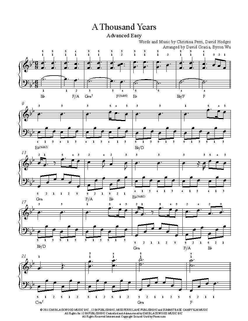 A Thousand Years By Christina Perri Piano Sheet Music Advanced
