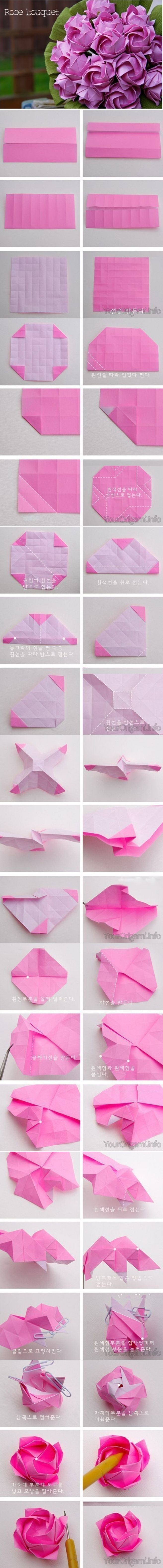 Diy beautiful origami paper rose bouquet cute crafts pinterest origami rose for bouquet infographic izmirmasajfo