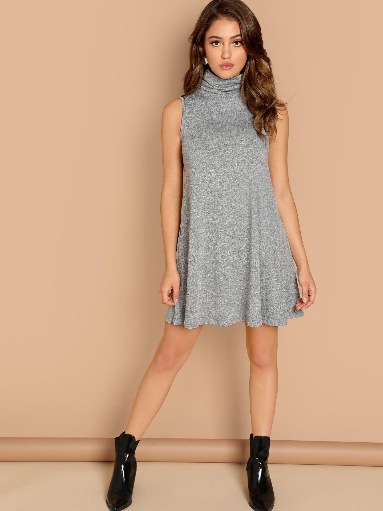 f16647d9f3 Casual Tshirt Plain Shift Trapeze High Neck Sleeveless Grey Short Length  Sleeveless Heathered Knit Dress
