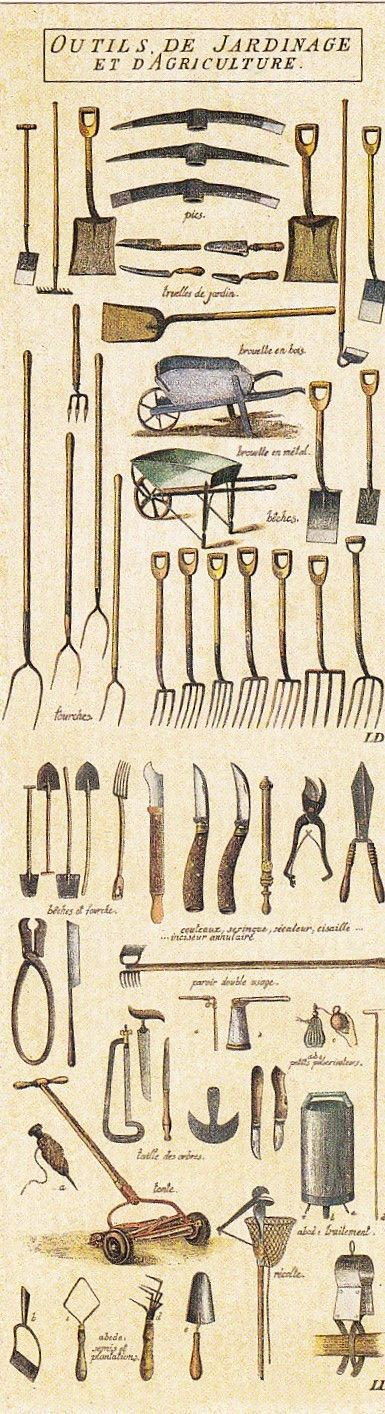 Antique gardening tools gardening tools gardens and vintage for Horticulture tools names