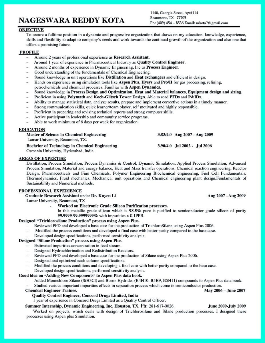 Awesome Successful Objectives In Chemical Engineering Resume,