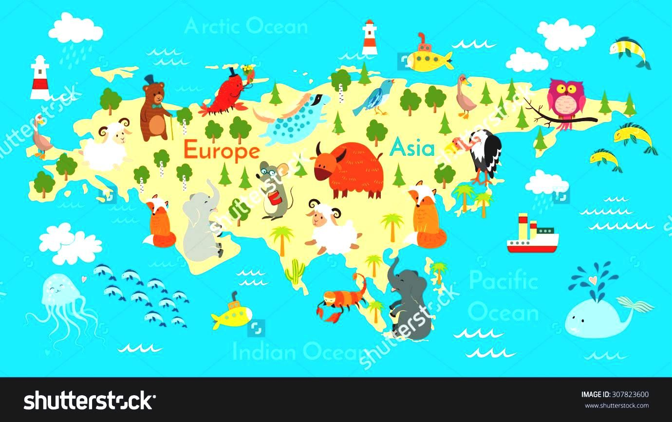 World map oceans animals eurasia vector illustration preschool baby world map oceans animals eurasia vector illustration preschool baby save to a lightbox stock continents drawn gumiabroncs Image collections