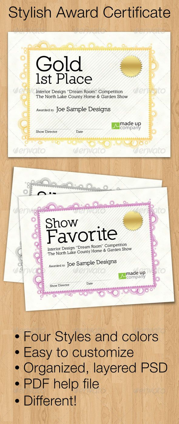Stylish Award Certificate Certificate Templates Pinterest