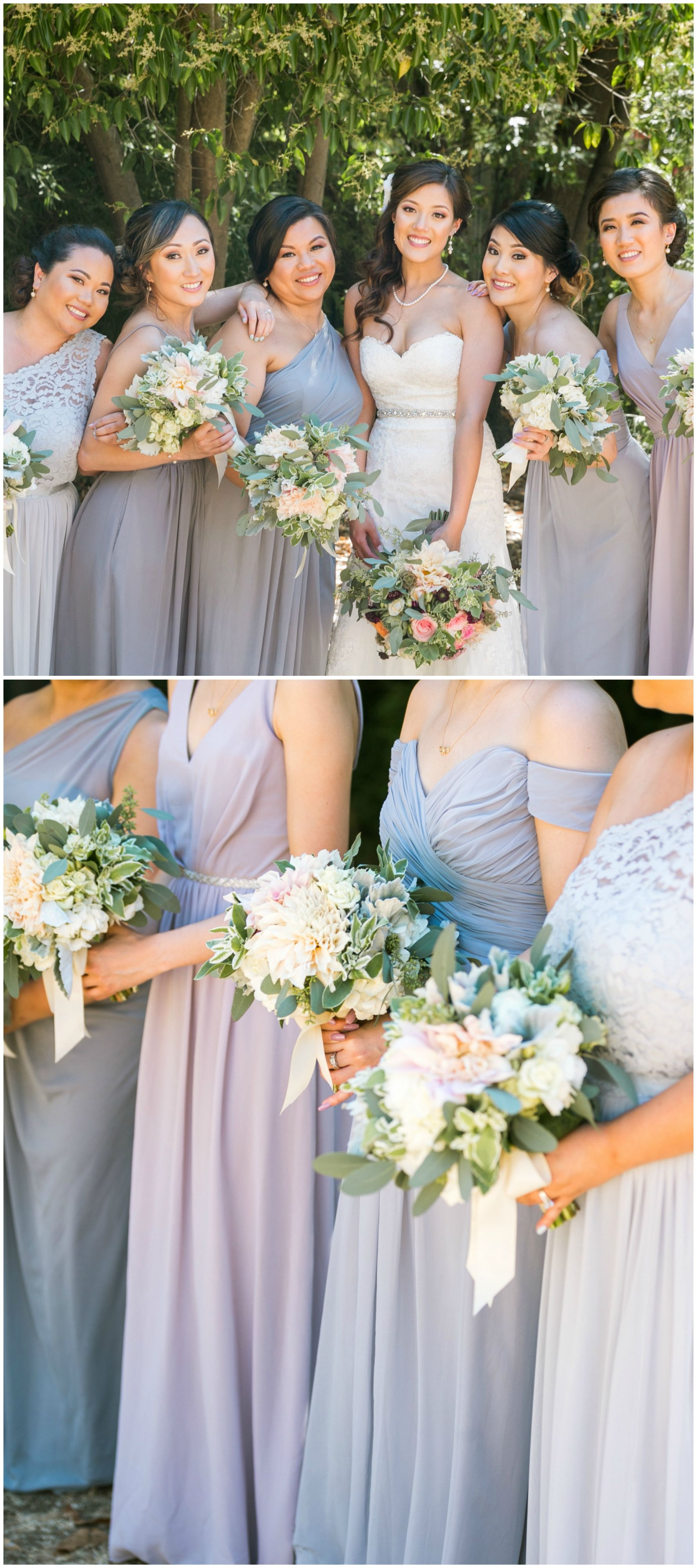 Romantic alfreso nuptials with lace burlap accents san cool toned bridesmaids long dresses lavender and blue mismatched maids morilee ombrellifo Choice Image
