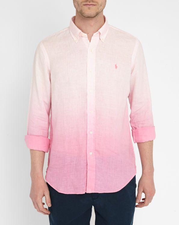 offrir des rabais vente en ligne bonne réputation Chemise Lin Tie and Dye Neon Pink POLO Ralph Lauren   Shirt ...