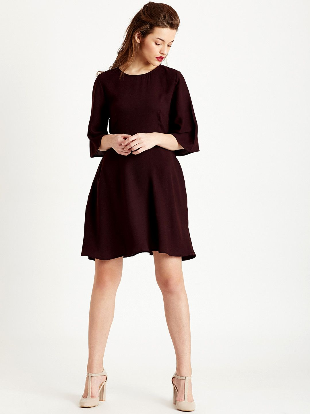 cd5e907a12e9 COVER STORY Women Maroon Solid A Line Dress  solid  maroon
