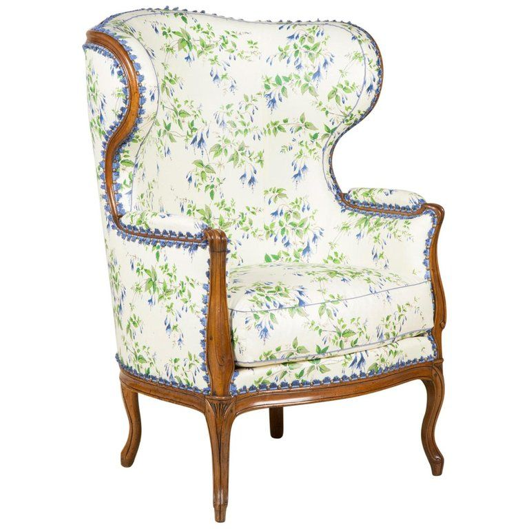 1stdibs Wingback Chair Upholstered Wing Bergere Cabriole Legs