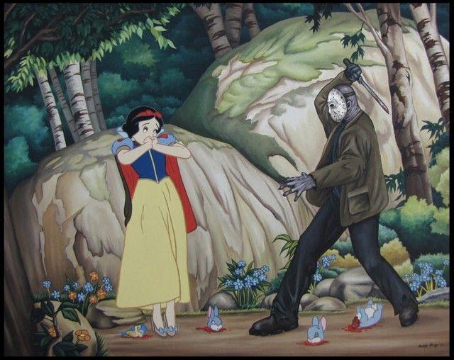 Irreverentes imágenes que muestran a personajes de Disneyland en situaciones de drogas, violencia y sexo