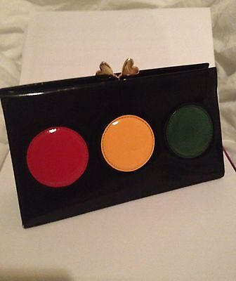 RAREST Collectible Moschino 90s Stoplight Smooth Leather Clutch Bag