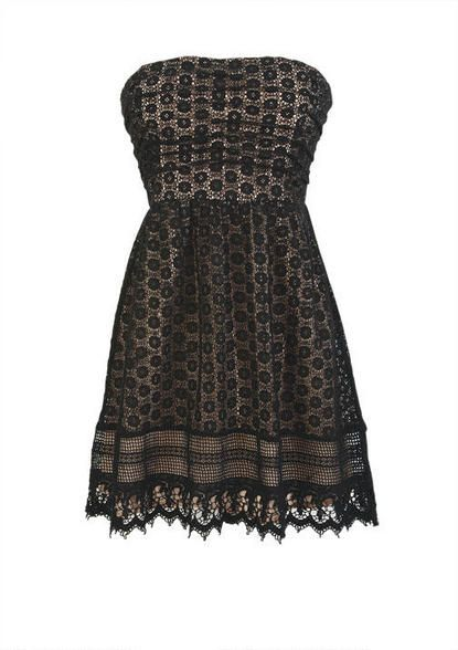 Crochet Ruched Strapless Dress -