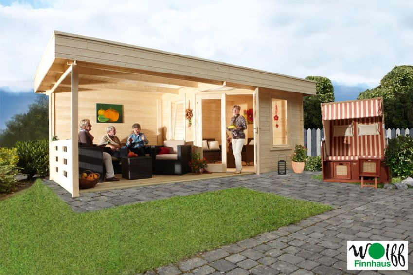 Trend Gartenhaus Flachdach WOLFF Nina B mit Terrassenanbau F nf Eck Holz Haus Bausatz Praktisches