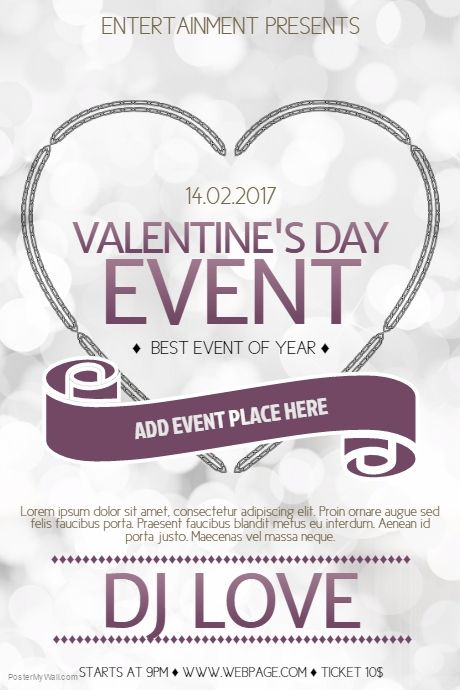 Valentine S Day Event Poster Template For Valentine S Day