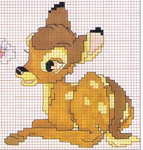 Schema punto croce bambi3 cross stitch patterns for Immagini disney punto croce