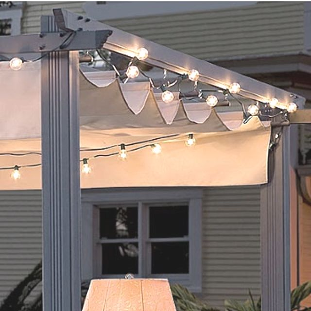 Retractable Awning For Patio With Globe Lights Retractable Pergola Pergola With Roof Covered Pergola