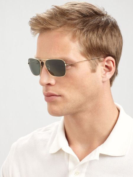 dff331f11c8 Ray-ban Caravan Rectangular Sunglasses in Gold for Men