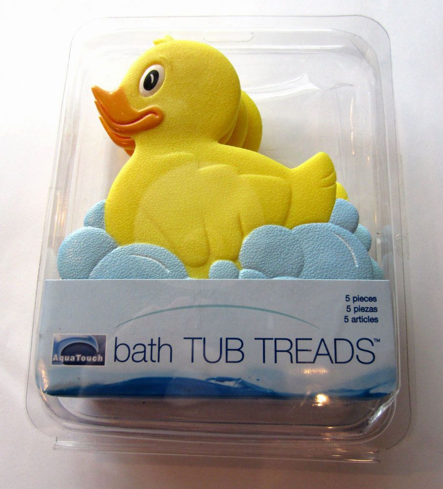 Aqua Touch YELLOW RUBBER DUCKY BTH TUB TREADS Set/5 NEW in Orig Box ...