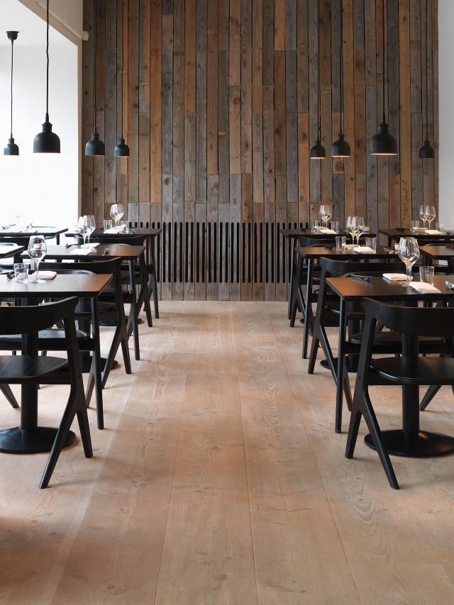 copenhagens restaurant radio by holmback nordentoft tom dixon slab chairs dinesen douglas floor - Light Hardwood Restaurant Decoration