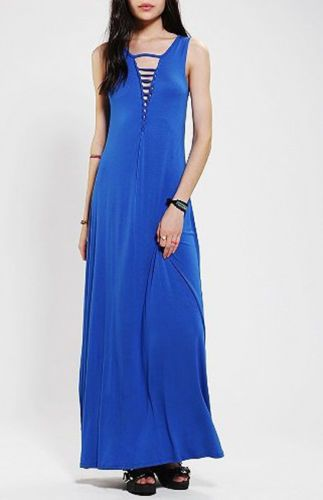 NEW Urban Outfitters Sparkle & Fade Slashed Deep-V Maxi Dress BLUE Size S