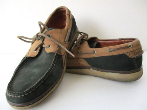 b6ca23fa85b Tommy-Bahama-Men-039-s-Leather-Boat-Shoes-Size-9M-TB-238-Black-w-Cocoa-Used
