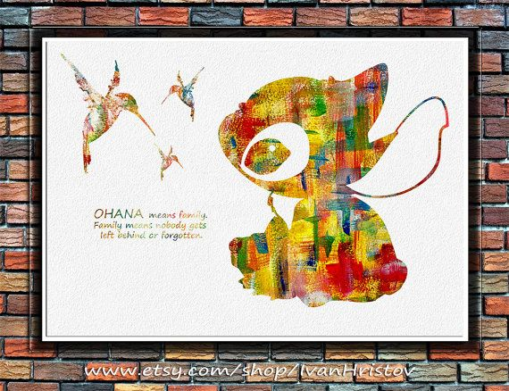 STITCH Quote from Lilo and Stitch Disney Watercolor by IvanHristov ...