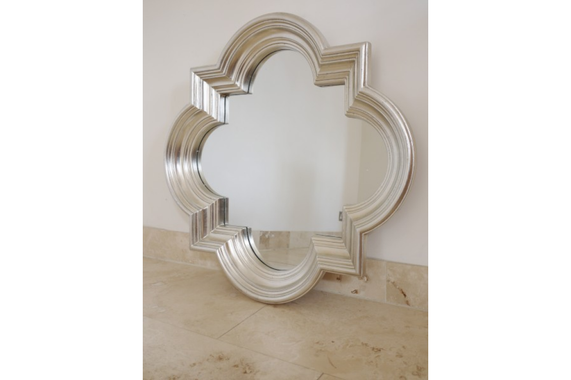 Large Antiqued Silver Quatrefoil Wall Mirror Mirror Mirror With