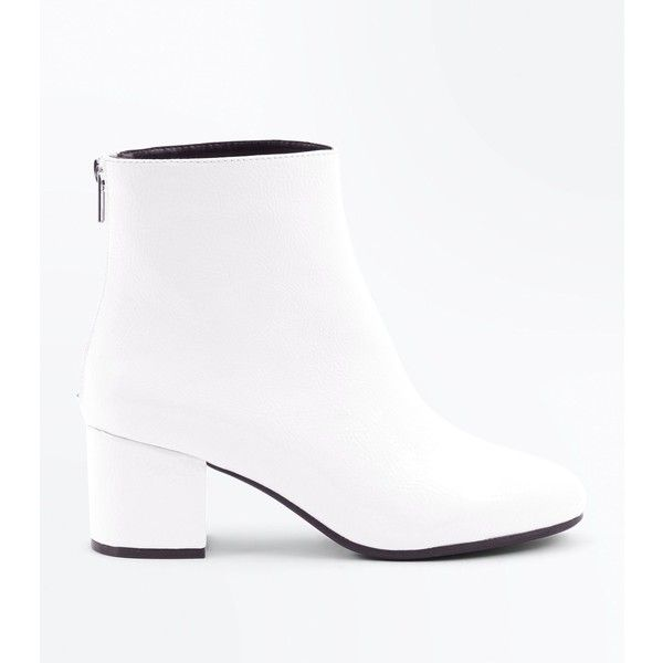 c687901d7 Wide Fit White Patent Block Heel Ankle Boots ($42) ❤ liked on Polyvore  featuring shoes, boots, ankle booties, white, block heel ankle boots, wide  booties, ...
