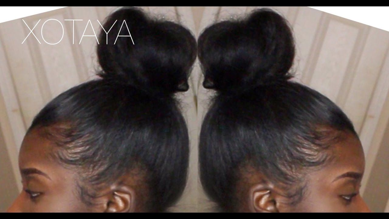 Quick Easy Sleek High Bun On Blown Out Natural Hair Natural Hair Blowout Natural Hair Styles Natural Hair Bun Styles