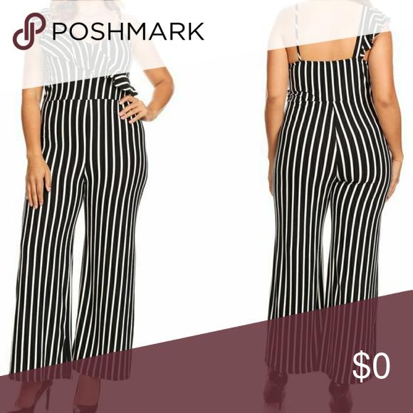 fddf8d94b408 CCO Plus Size Black and White Striped Jumpsuit Black and white striped