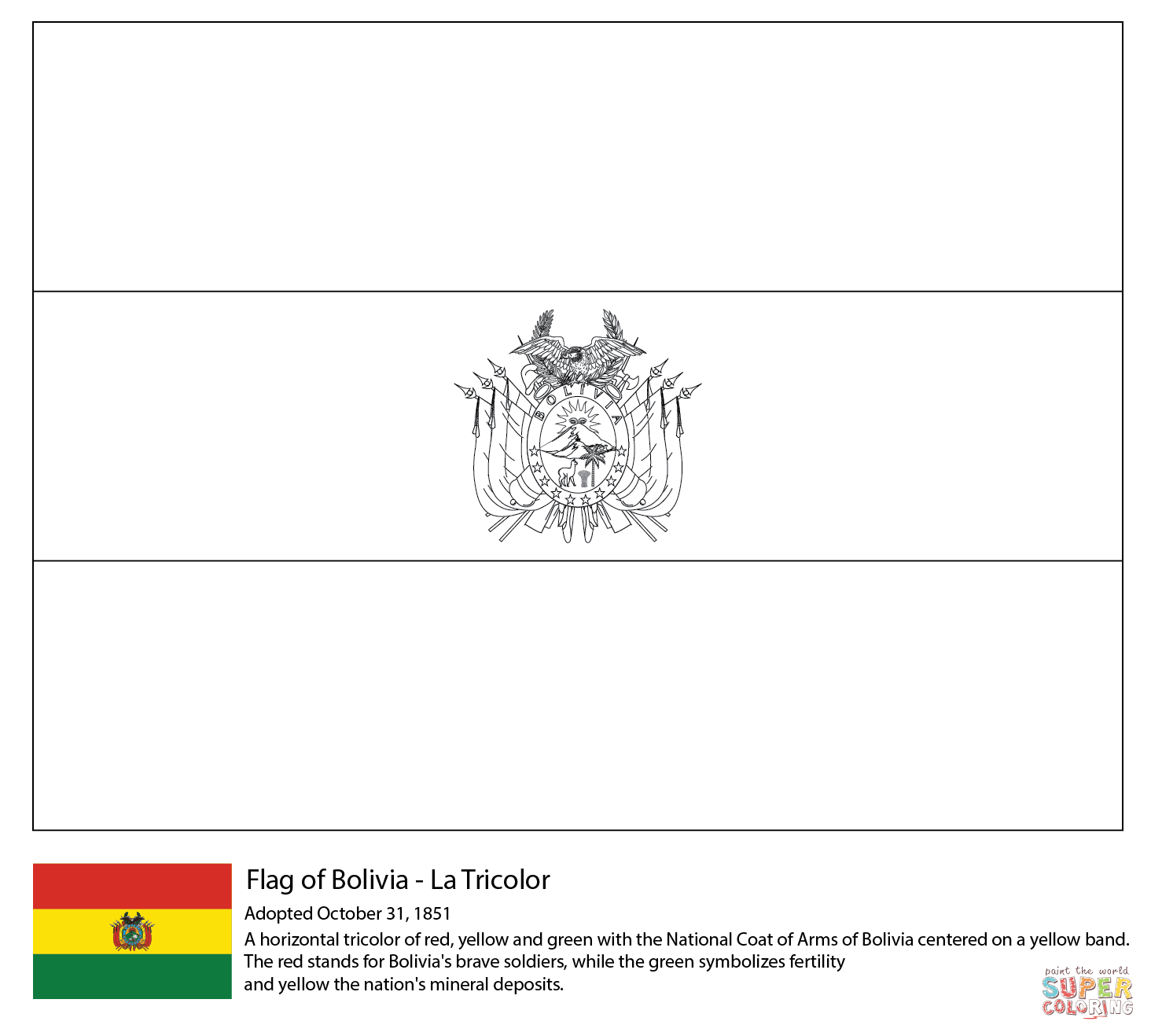 Bolivia Flag Coloring Page Free Printable Coloring Pages In 2020