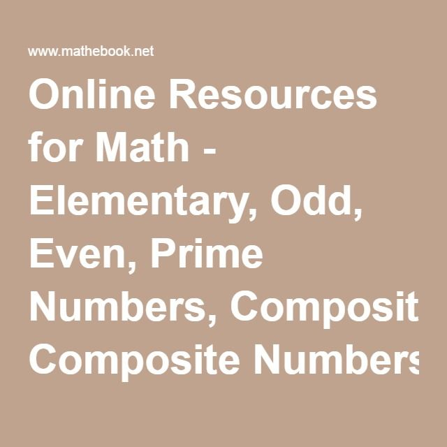 Online Resources for Math - Elementary, Odd, Even, Prime Numbers ...