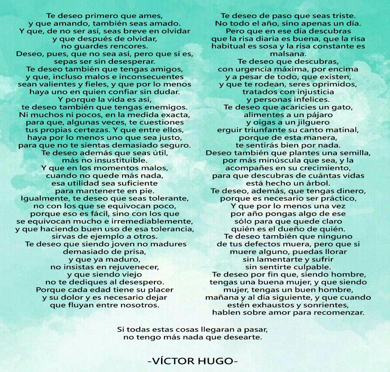 Te Deseo Hermoso Poema De Víctor Hugo Frases Pensamientos