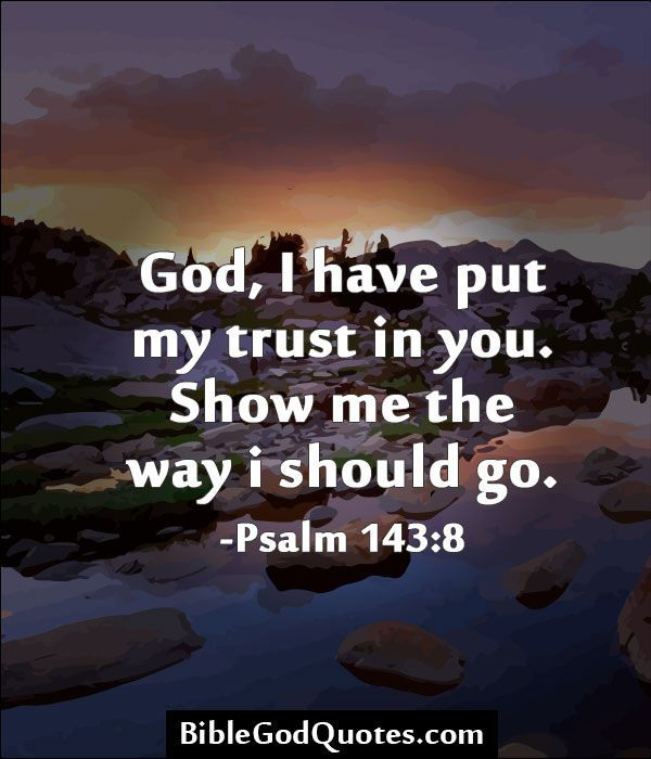 God I Have Put My Trust In You Show Me The Way I Should Go Psalm