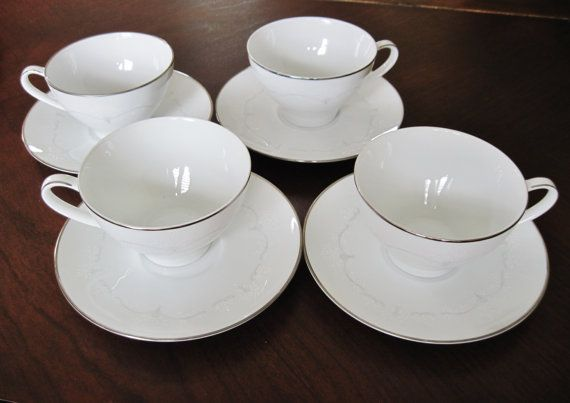 Noritake Whitebrook 4 sets of Cup and Saucers by CrystalCoaster