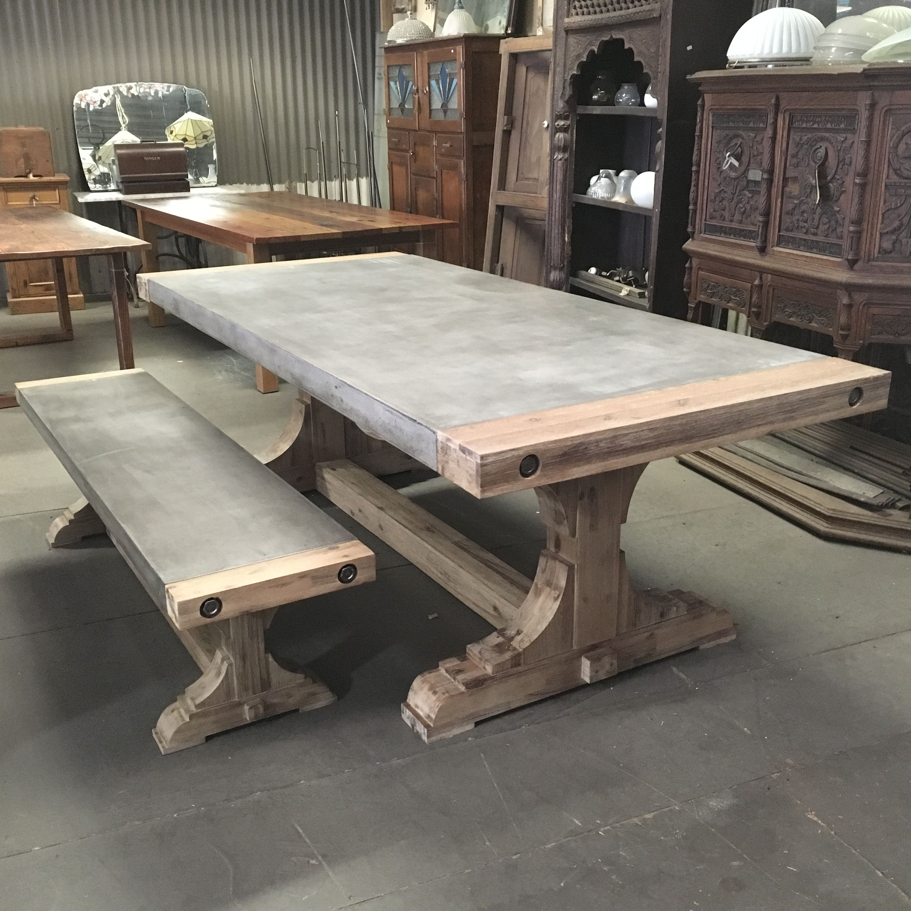 Home Dining Can Be Fun The Pirate Is A Polished Concrete Distressed Wood Base
