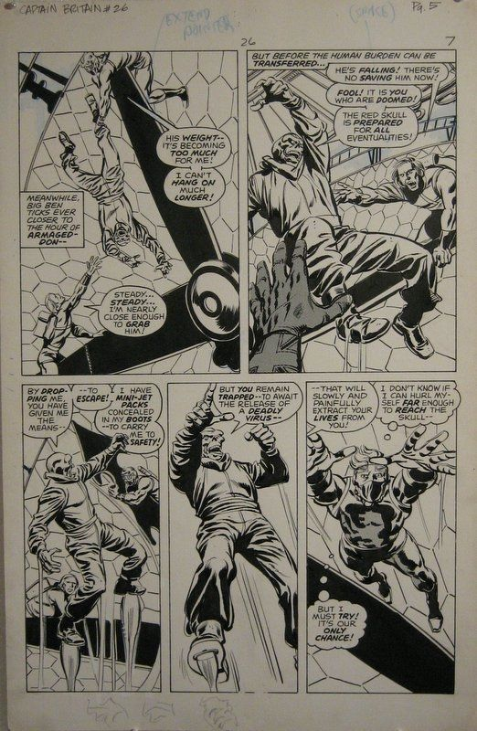 John Buscema and Tom Palmer Captain Britain #26 page 6 Red Skull ! Comic Art