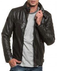 Blouson homme noir effet cuir zippé avec poches   Mode homme ... 93b8279186b