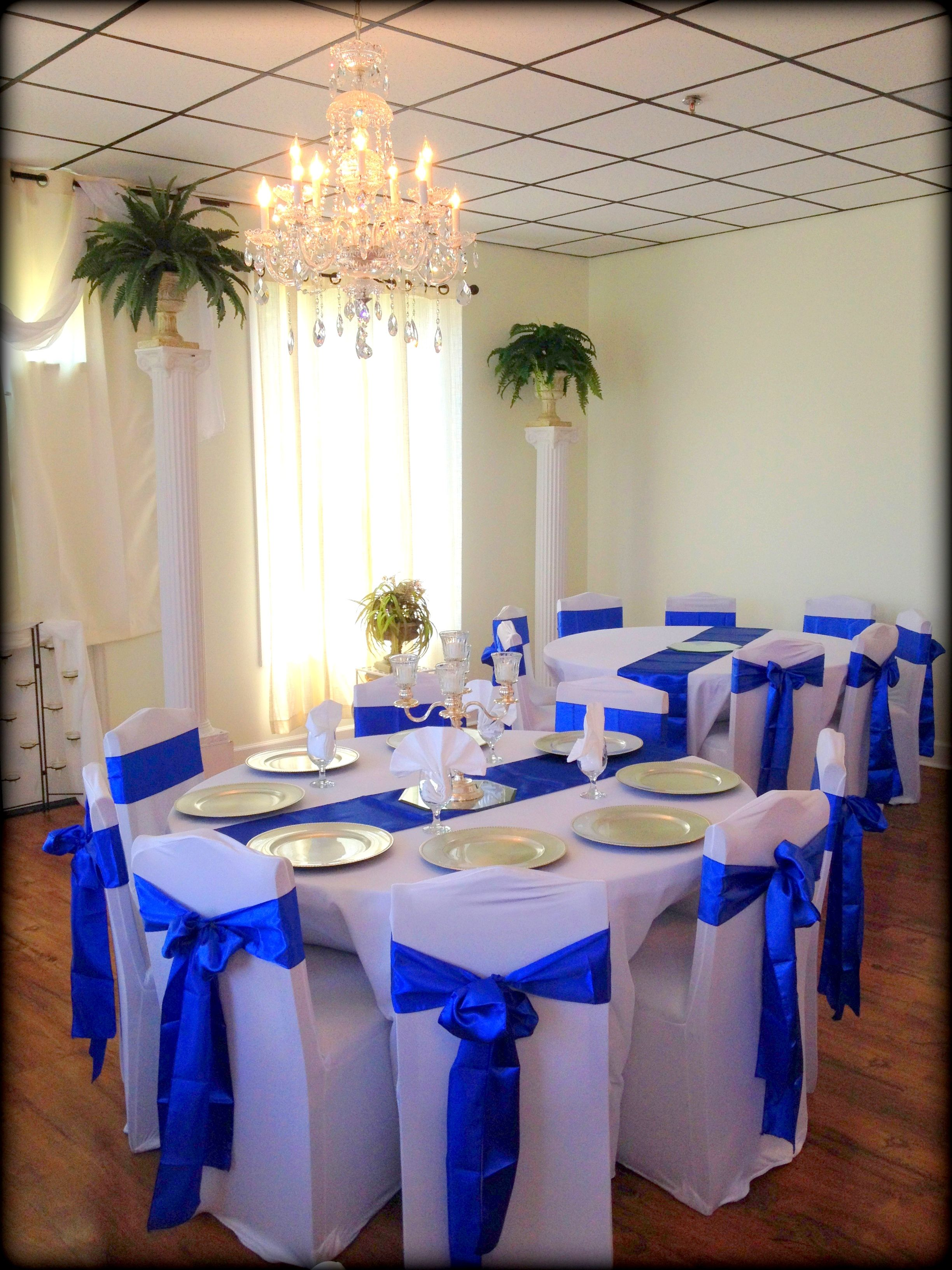 Blue And Silver Reception Blue Wedding Receptions Royal Blue