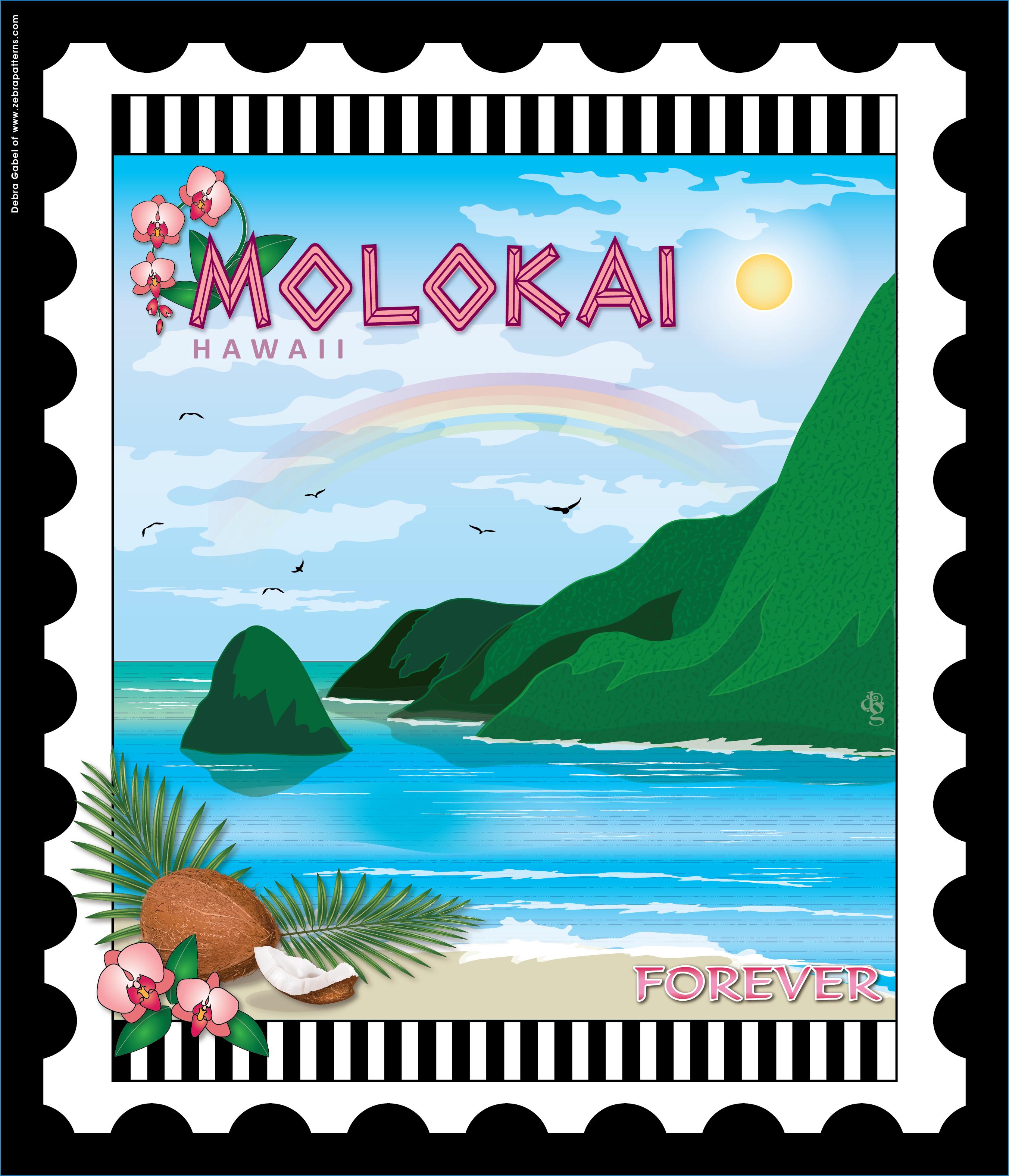 Molokai Hawaii Stamp By Debra Gabel Of Www Zebrapatterns Com Used