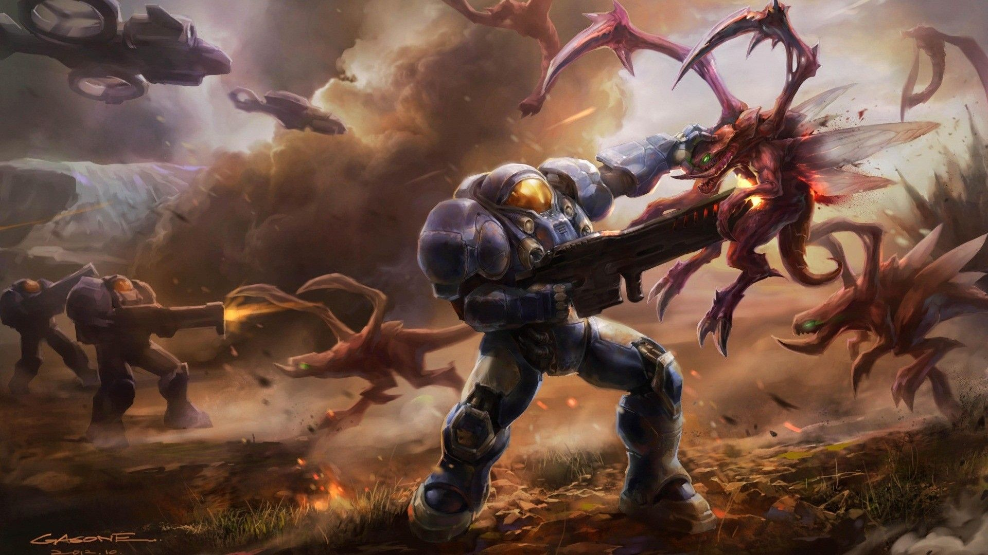 Space Marines fighting StarCraft II wallpaper Game wallpapers