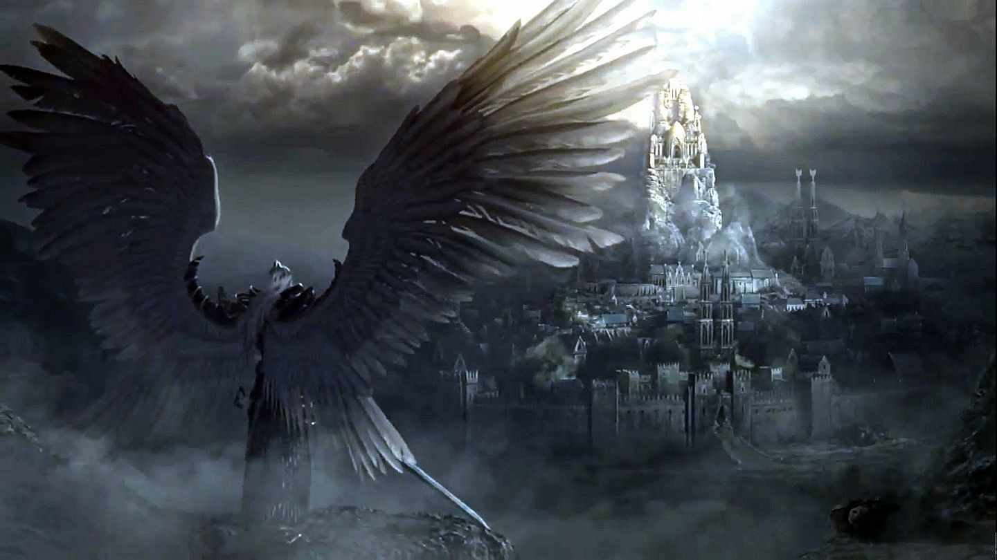 Fantasy Angel Warrior Sword City Wings Castle Wallpaper