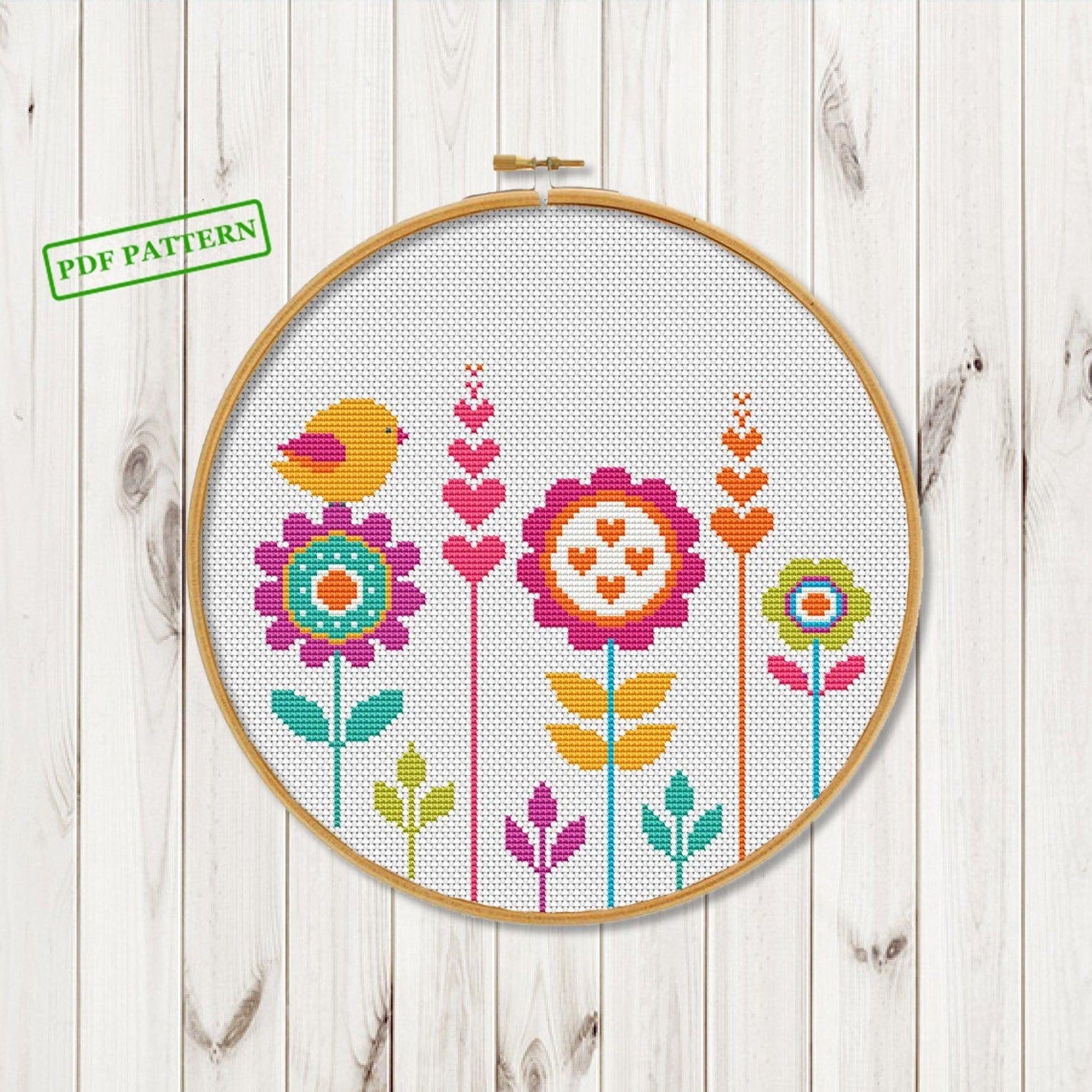 cross stitch flowers pattern hoop art cross stitch bird on etsy cross stitch patterns flowers cross stitch bird cross stitch flowers