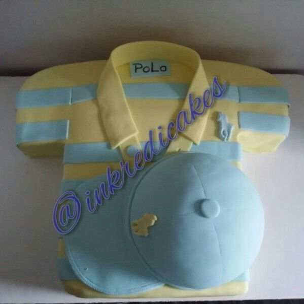 Polo hat and shirt baby shower cake